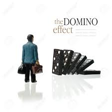concept image depicting the domino effect in business for example concept image depicting the domino effect in business for example unemployment or retirement copy space stock
