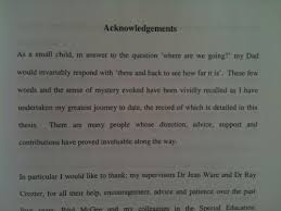 Acknowledgement for phd thesis