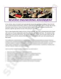 reverse engineering assignment pdf engineering 112 kander reverse engineering assignment in this activity teams of students will systematically disassemble an electromechanical device in this case a common