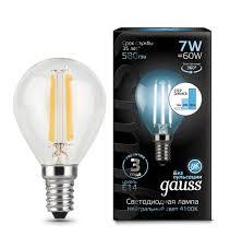 "<b>Лампочка Gauss</b> LED <b>Filament</b> ""Шар"" E14 7W 580lm 4100K"