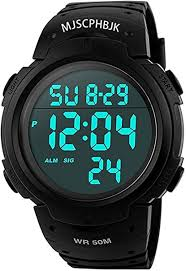 MJSCPHBJK Mens Digital <b>Sports Watch</b>, <b>Waterproof LED</b> Screen