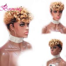 bouncing brazilian remy hair short pixie cut wigs lace front 150 density 99j natural for women free shipping