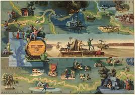 a 1959 pictorial map of events in the adventures of huckleberry finn