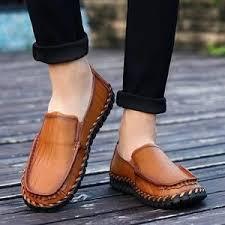 Genuine Leather Black Brown <b>Men</b> Flat <b>Shoes</b> Classic <b>Hand Sewing</b> ...
