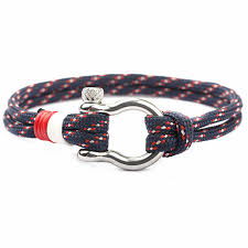 Fashion Charm Paracord Bracelet Navy Style Braided Rope ...