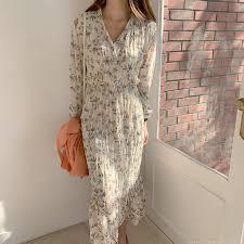 BGTEEVER <b>Elegant Ruched Floral</b> Print Women Autumn Dress ...
