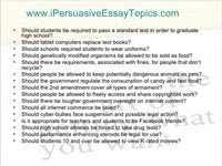 persuasive essay topics for high school students