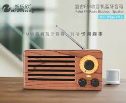 Wireless <b>Wood Grain Retro</b> FM Radio Bluetooth Speaker 10W ...