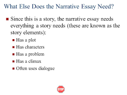 narrative essays  what is a narrative essay  narratives tell    what else does the narrative essay need  since this is a story  the narrative