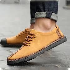 <b>Men Soft</b> Sole Hand Stitching Casual <b>Flats</b> | Leather <b>flat shoes</b> ...