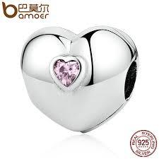 BAMOER <b>Hot Sale 100</b>% <b>925</b> Sterling Silver Steady Heart, Pink CZ ...