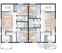 Multi family plan W  V detail from DrummondHousePlans com    Basement Modern duplex house plan  open floor plan concept   bedrooms and full