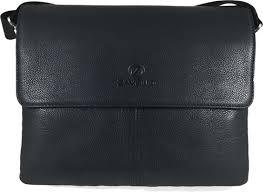 <b>Men's Genuine Leather</b> Briefcase Shoulder Messenger Bag - <b>Black</b>