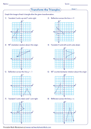 Transformation Worksheets - Reflection, Translation, RotationTransformation of triangles