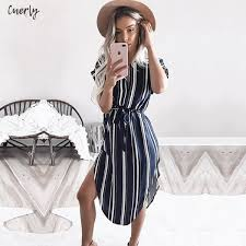 Women Dress Summer <b>Striped</b> Fashion <b>Print Vintage</b> Midi Party ...
