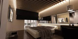 enchanting wooden flooring bedroom design with lighting in ceiling plus pendant lamsp above table as well above bed lighting