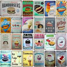 [SQ DGLZ] Hot Dog/Ice Cream/Cake/Hamburger <b>Metal Sign Bar</b> ...