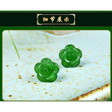 <b>Hetian jade natural</b> rose flowers stud earrings | Shopee Philippines