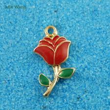 <b>Julie Wang 5PCS</b> Alloy Charm Gold Color Red Enamel Rose ...