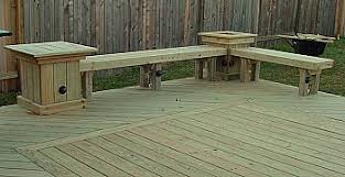 add built seating deck deck bench with table and planter