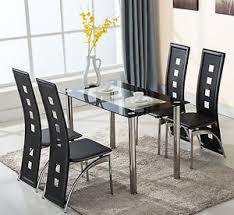 image is loading 5 piece glass dining table set 4 leather breakfast furniture