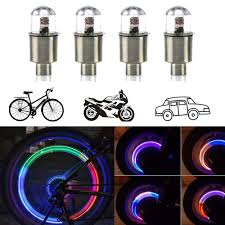 <b>Bicycle Bike</b> Wheel Tire Spoke Valve Cap <b>Lamp</b> Neon Flash <b>5LED</b> ...