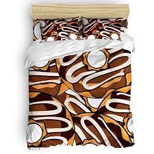 4pcs Duvet Cover Set Lightweight <b>Polyester</b> - Cartoon Chocolate ...