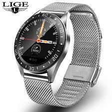 <b>LIGE 2019 New</b> Stainless steel waterproof smart watch Mens Sport ...