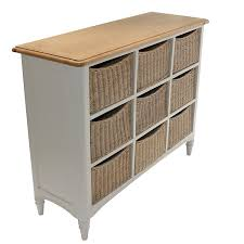 white storage unit wicker: melford multi chest nine drawer storage unit wicker baskets painted oak top storage units with baskets