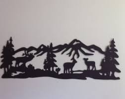 tree scene metal wall art: elk buck with does mountain scene metal wall art elk metal mountain scene quot wide