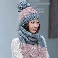 <b>Brand Winter</b> Color matching <b>Hat Scarf</b> Knitted <b>Hat</b> Skullies Beanies ...