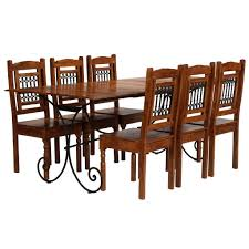 D-Shop Dining Table Set <b>7 Piece Solid Acacia</b> Wood with ...