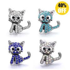 <b>5pcs</b>/lot 18MM Pretty Cat <b>Snap Button Bracelet</b> Charms LSSN1133