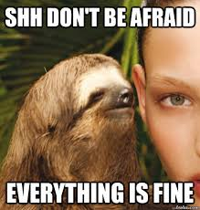 Shh don't be afraid everything is fine - rape sloth - quickmeme via Relatably.com