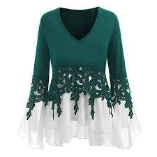 Malbaba Women Blouse, Falbala <b>Long</b> Sleeve Applique Flowy Plus ...