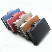 Leather Pop-up <b>Double</b> / Single <b>Metal</b> Box <b>Card</b> Holder <b>RFID</b> ...