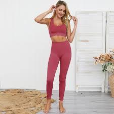 2020 2PCS <b>Women's Seamless Yoga</b> Set Sportswear Sports Bra+ ...