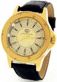 super techno mens diamond watch 0 10 ct tw clothing adds for super techno diamond watch by joe rodeo mens genuine diamond watch oversized gold case leather band