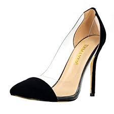 <b>ENMAYER</b> Womens Flock Material Slip-on High <b>Heels</b> Pointed Toe ...