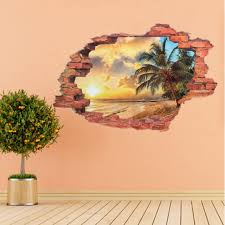 brand new 3d beach sunshine wall sticker decal art decor vinyl home living room bedroom office window door mural beach office decor