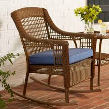 spring haven brown all weather wicker patio rocking chair with sky blue cushion amazing home depot office chairs 4 modern