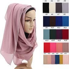 Shiny <b>Rhinestone</b> Bubble Chiffon Plain Tudung <b>Muslim Hijabs</b> Head ...