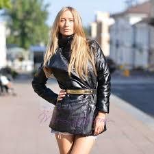 """Кожаная женская куртка на запах """"<b>BGN</b>"""" с поясом и карманами ..."""