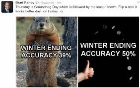 beware of fake groundhogs feel like 2 1927 spring like temperatures are felt on groundhog day tracy is 57 and fairmont reaches 56