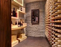 justice kohlsdorf residence wine cellar modern wine cellar idea in atlanta with storage racks box version modern wine cellar