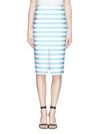 lena dunham recalls her awkward high school years in poignant tanya taylor bundy stripe neoprene skirt