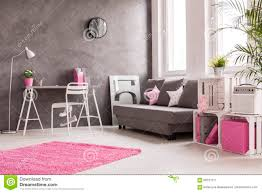 Pink Living Room Furniture Grey Living Room With Pink And White Details Stock Photo Image