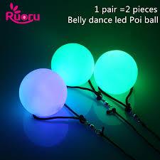 <b>Ruoru</b> 2 pieces = 1 pair <b>belly dance</b> balls RGB glow LED POI thrown ...