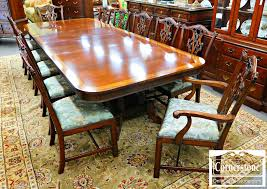 Chippendale Dining Room Table Henredon Mahogany Dining Room Set Banded Table With 2 Leaves And