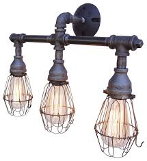 3 light vanity fixture with wire cages industrial bathroom vanity lighting bathroom vanity bathroom lighting